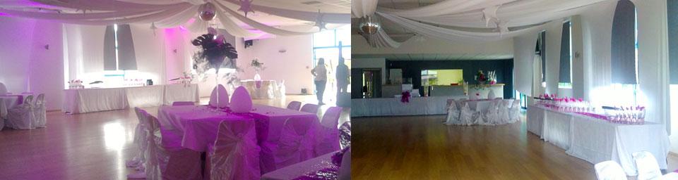 salle ballroom décorée pour un mariage